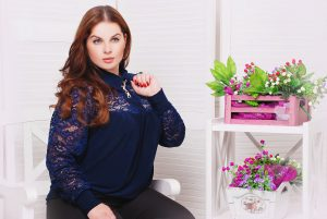 Plus Size Model With Navy Blue Blouse